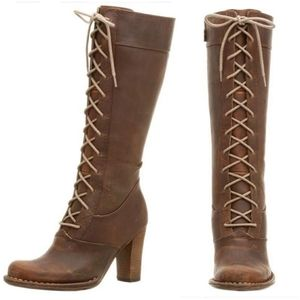 Frye   Villager Brown Leather Laced Up Heeled Boot